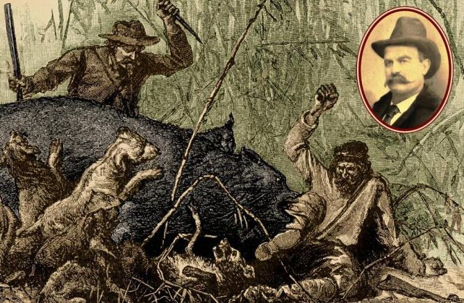 "Bear hunters with dogs fighting bear with knife in the Mississippi Delta canebrakes from an 1881 Scribner's Monthly article entitled ""Bear-Hunting in the South"" with inset photo of bear hunter Robert Eager Bobo."